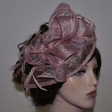 Chapeau bibi sur Serre-tête Parure pour cheveux Mariage Plumes Fleur MAUVE TAUPE