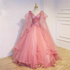Princess Medieval Celtic Quinceanera Dresses Pink V Neck Sweet 16 Prom Ball Gown