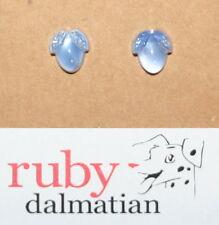Vintage glass sterling silver post stud earrings moonstone blue fruit bud 2