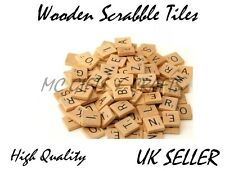 100 WOODEN SCRABBLE TILES BLACK LETTERS NUMBERS FOR CRAFTS WOOD ALPHABETS UK