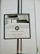 NIP HOTEL COLLECTION PAIR OF CHARCOAL GRAY EMBROIDERED FRAME KING PILLOW SHAMS
