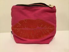Emma Lomax London Embroidered Red Lips Pink Small Pouch W Zipper