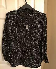Marks And Spencer Ladies Polka Dot Long Sleeve Shirt Size 18 Black Mix