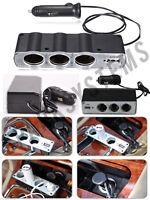 Triple Socket Splitter Cigarette Lighter Adapter Plug + USB Port, 3 way Charger