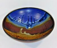 "Doug Adams Serving Bowl ""The Wave"" Artist Signed Art Clay Pottery"