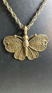 """LADIES BUTTERFLY PENDANT AND CHAIN 16"""" ANTIQUE BRONZE TONE NEW"""