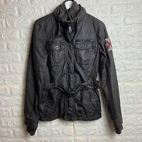 Vintage KHUJO Winter Jacket Womens Medium Dark Brown Biker Logo Patch
