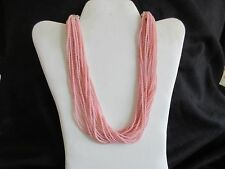 VINTAGE COSTUME JEWELRY PASTEL PINK MULTI STRAND CHOKER & CLIPS  TOTALLY RETRO!!