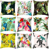 Tropical Plant Print Polyester Waist Throw Pillow Case Sofa Cushion Cover Decor