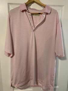 Mens Donald Ross Polo Shirt XL Pink And White Stripe