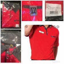 McDonalds Red Crew Classic EMPLOYEE Shirt Pullover Large MC348 Uniform Polo