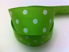 "1.5"" Apple Green Polka Dots White 5 yards Gros Ribbon-Printed-Fabric-Craft-Fall"