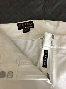Ariat Pro Series Olympia breeches, 28R, white with suede knee patches, front zip