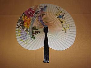 "VINTAGE 5 1/2"" LONG FLOWERS BIRDS CHINESE PAPER HAND FAN"