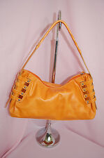 MONTINI Made In Italy Genuine Leather Orange Studded Wood Detail Handbag
