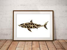 Leopard Shark Art Print,Nautical Sea Decor, Bathroom Art, Marine Life, Shark Art