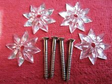 4 VINTAGE KNAPE & VOGT CLEAR MIRROR STAR ROSETTES & SCREWS, NOS HARDWARE