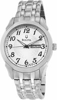 Bulova Men's Quartz White Dial Day/Date Indicator Silver-Tone 40mm Watch 96C103