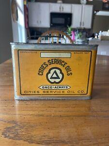Vintage Original Cities Service Half Gallon Motor Oil Can