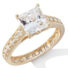 Absolute Solitaire Princess-Cut 4-Prong Eternity Vermeil Band Ring Size 6