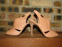 Coach Lexia Ginger Leather Open Toe Cut Out Slingback Heels Pumps Sz 7B Rare EUC