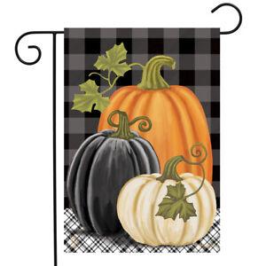 "Checkered Pumpkins Autumn Garden Flag Primitive Fall 12.5"" x 18"" Briarwood Lane"
