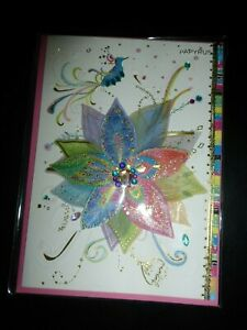 Papyrus All Occasions greeting Card-TURNOWSKY'S ARTISTS-3-D flower with gems