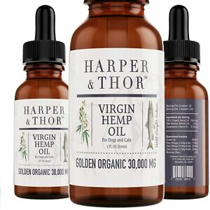Harper & Thor 30,000 MG Golden, Organic Virgin Seed Oil for Dogs and Cats,...