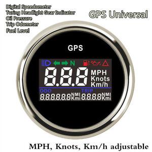 52mm Digital GPS Speedometer Turning Indicator Oil Pressure Fuel Level MPH KM/H
