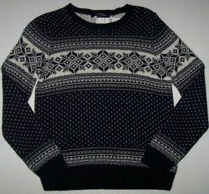 NWT Brooks Brothers Navy/Cream ALPACA WOOL BLEND Fair Isle Sweater Boys M 10/12