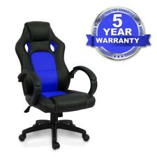 Luxury Office Gaming Racing Chair Computer Swivel Recliner Bucket Seat (BLUE)