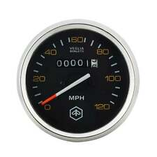 VESPA Round Speedo/Speedometer 120mph Black Face/Yellow Text P200E/PX125/PX150