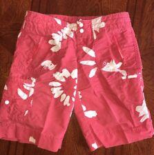 Women's Gap Costa Del Sol Red & White Floral Cargo Shorts Sz 2 Hawaiian NWT