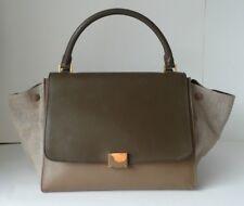 CELINE TwoTone TRAPEZE 30 handbag In BEIGE & ETOUPE calfskin leather & canvas