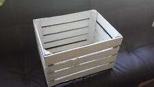 WHITE PAINTED FRENCH VINTAGE WOODEN APPLE FRUIT CRATE WEDDING DECOR SHABBY CHIC