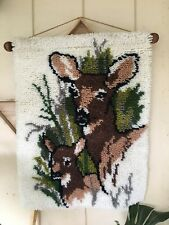 Vintage Yarn Deer Tapestry Mother Fawn Wall Hanging Latch Hook