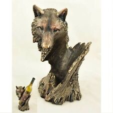 Bronze Wolf Bust Wine Bottle Holder 10.25 Inch