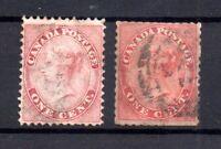 British Canada 1859 1c pale rose & rose SG29 SG30 used WS15964