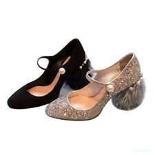 A Womens Sequins Tassels Kitten Heels Beads Mary Janes Pumps Shoes Ankle Strap