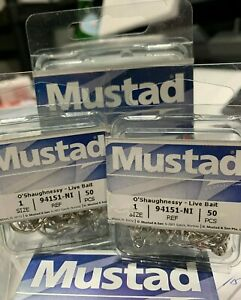 Mustad 94151-NI-1-100pack Classic O'Shaughnessy 3X Live Bait Hook Silver-Size 1