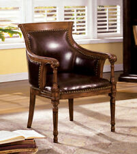 Oak Leather Armchairs
