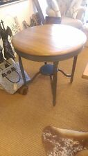Round Solid Elm Top Wooden Table Painted Grey Legs with Small Lower Shelf