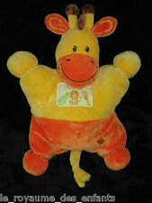Doudou semi-plat coussin jaune orange Girafe Ma ptite Tribu Nicotoy Soleil brodé