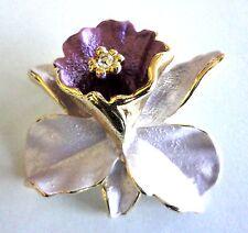 Brooch Purple Enamel Flower Pin Gold Plated Crystal Vintage Christmas Gifts