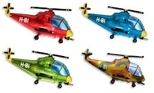 """Flexmetal Helicopter 26"""" Foil Balloon Red Green Blue Military Helium"""