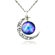 Women's Fashion Jewelry Pendant Necklace Galaxy,Cosmic Moon Chain Gift For Girls