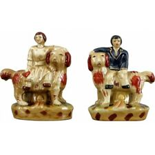 Staffordshire Reproduction Lion Dogs With Man & Woman Figurines Set of 2