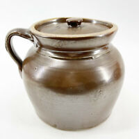 Vintage Brown Glazed Stoneware Art Pottery Crock Jug Lidded Jar Finger Handle 2