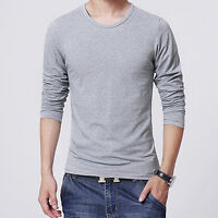 HK- Men Slim Fit Long Sleeve Solid T-shirt Tee Shirt Casual Round Neck Top Deft