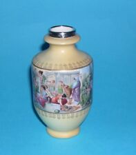 Antique Brushed Ivory Vase / Gilded/ Birmingham Silver Top/ Decorative Scenes.